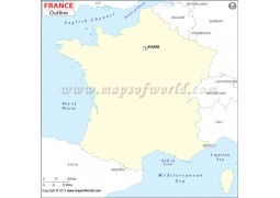 France Outline Map  - Digital File