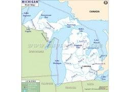 Michigan River Map - Digital File