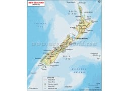 New Zealand Physical Map - Digital File