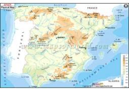 Spain Physical Map - Digital File