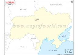 Ukraine Outline Map - Digital File