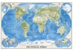 "World Physical/Ocean Floor Wall Map, laminated 44""W x 30"" H"