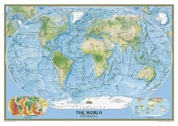 "World Physical/Ocean Floor Wall Map, large, laminated 69"" W x 48"" H"