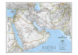 Middle East Wall Map, laminated