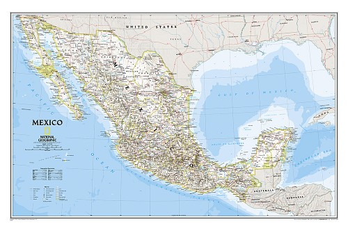 "Mexico Classic Wall Map, laminated 21""W x 31""H"