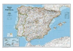 Spain and Portugal Classic Wall Map, Laminated