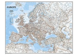 Europe Classic Large Wall Map, Laminated