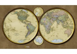 "World Map Hemispheres 42.75"" W x 24.5"" H"