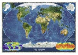 "World Satellite Wall Map 43.5"" W x 30.5"" H"