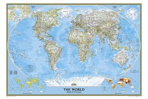 "World Classic Wall Map 43.5"" W x 30.5"" H"