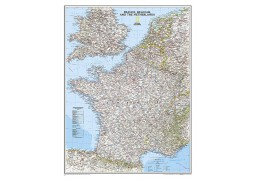 France, Belgium, and The Netherlands Classic Wall Map