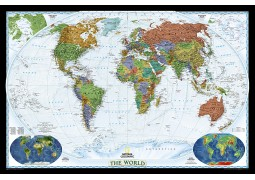 "Laminated World Wall Map  46"" W x 31"" H"