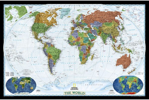 "Laminated World Wall Map 46""W x 31""H"