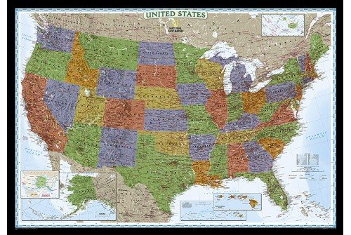"United States Decorator Wall Map 43.5""W x 30.5""H"
