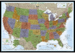 Large and Laminated Decorator Wall Map of USA