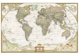 "World Executive Wall Map (Enlarged and Laminated) 73"" W x 48"" H"