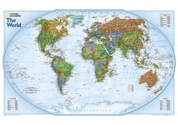 "World Explorer Wall Map by National Geographic 32"" W x 20"" H"