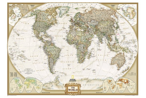 "World Executive Map Mural 106.25"" W x 76.5"" H"