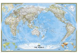 """Pacific Centered World Classic Wall Map (Large and Laminated) 73""""W x 48""""H"""