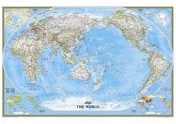 "Pacific Centered World Classic Wall Map (Large and Laminated) 73"" W x 48"" H"