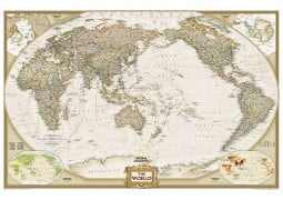 "Pacific Centered World Wall Map, Large and Laminated 73"" W x 48"" H"