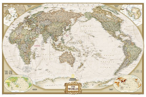 "Pacific Centered World Wall Map, Large and Laminated 73""W x 48""H"