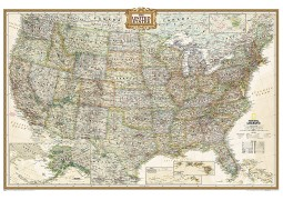 United States Executive Wall Map, Poster Size (Laminated)