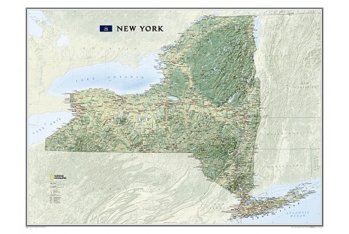"New York Wall Map, laminated 40.25""W x 30.25""H"