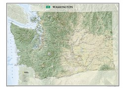 "Washington Wall Map, laminated 40""W x 30""H"