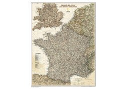 France, Belgium,The Netherlands Executive Wall Map, laminated