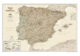 Spain and Portugal Executive Wall Map
