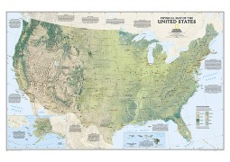 United States Physical Wall Map, Laminated