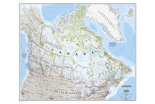 "Canada Classic Wall Map, laminated 21""W x 28""H"