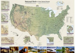 US National Parks Wall Map, Laminated