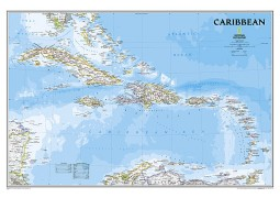 "Caribbean Classic Wall Map, Laminated 36""W x 24""H"