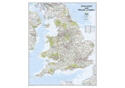 """England and Wales Classic Wall Map, Laminated 30""""W x 36""""H"""