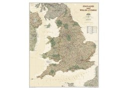 """England and Wales Executive Wall Map 30""""W x 36""""H"""