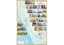 California Lighthouse map laminated