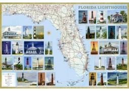 Florida Lighthouses map, laminated