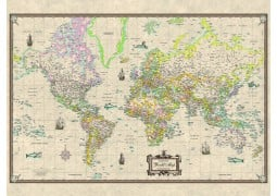 World Antique-Look Mounted Wall Map