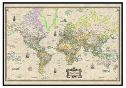 World Antique-Look Framed Wall Map  (Black)