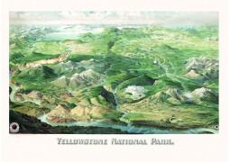 Yellowstone National Park 1904 Historical Print Mounted Wall Map