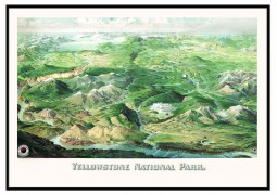 Yellowstone National Park 1904 Historical Print Framed Wall Map   (Black)