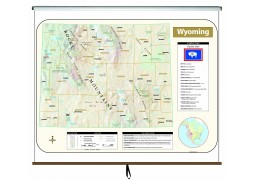 Wyoming Large Scale Shaded Relief Wall Map on Roller