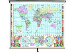 World Primary Classroom Wall Map on Roller w/ Backboard