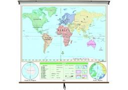 World Beginner Classroom Wall Map on Roller w/ Backboard