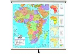 Africa Advanced Political Classroom Wall Map on Roller w/ Backboard