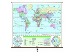 World Essential Classroom Wall Map on Roller