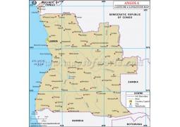 Angola Latitude and Longitude Map - Digital File