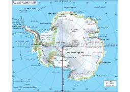 Antarctica Continent Map In Arabic - Digital File